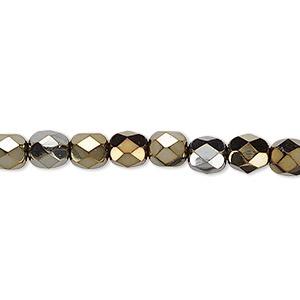 bead, czech fire-polished glass, opaque iris brown, 6mm faceted round. sold per 16-inch strand.