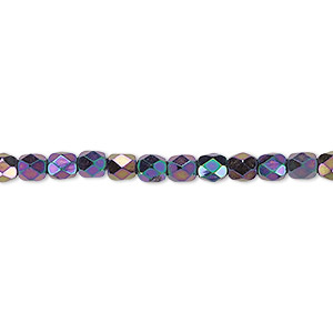 bead, czech fire-polished glass, opaque iris purple, 4mm faceted round. sold per 16-inch strand.