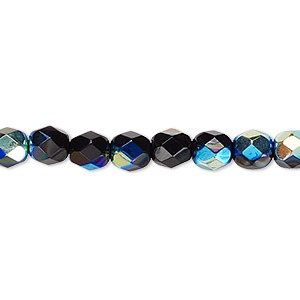 bead, czech fire-polished glass, opaque jet ab, 6mm faceted round. sold per pkg of 1,200 (1 mass).