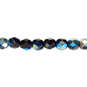 bead, czech fire-polished glass, opaque jet ab, 6mm faceted round. sold per 16-inch strand.