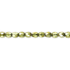 bead, czech fire-polished glass, opaque light green carmen, 4mm faceted round. sold per 16-inch strand.