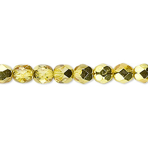 bead, czech fire-polished glass, opaque to translucent clear with half-coat metallic yellow gold, 6mm faceted round. sold per 16-inch strand.