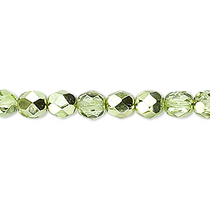 bead, czech fire-polished glass, opaque to transparent clear with half-coat metallic silver green, 6mm faceted round. sold per 16-inch strand.