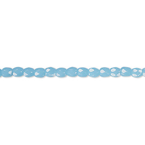 bead, czech fire-polished glass, opaque turquoise blue, 3mm faceted round. sold per 16-inch strand, approximately 130 beads.