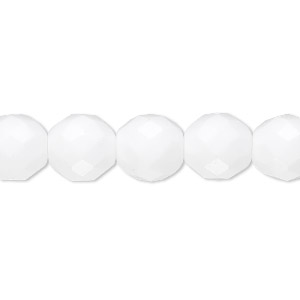 bead, czech fire-polished glass, opaque white, 10mm faceted round. sold per 16-inch strand, approximately 40 beads.