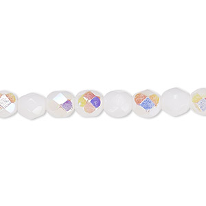 bead, czech fire-polished glass, opaque white ab, 6mm faceted round. sold per 16-inch strand, approximately 65 beads.