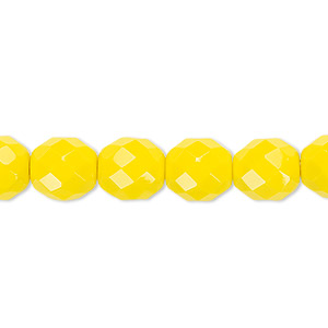 bead, czech fire-polished glass, opaque yellow, 10mm faceted round. sold per pkg of 600 (1/2 mass).