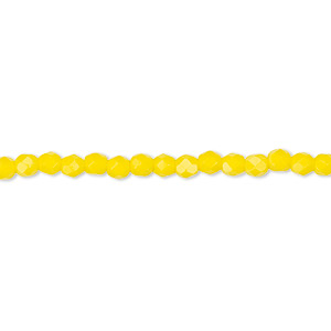 bead, czech fire-polished glass, opaque yellow, 3mm faceted round. sold per 16-inch strand, approximately 130 beads.