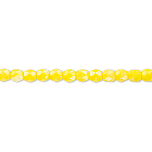bead, czech fire-polished glass, opaque yellow, 4mm faceted round. sold per pkg of 1,200 (1 mass).