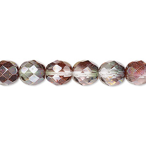 bead, czech fire-polished glass, pink and green luster, 8mm faceted round. sold per 16-inch strand.