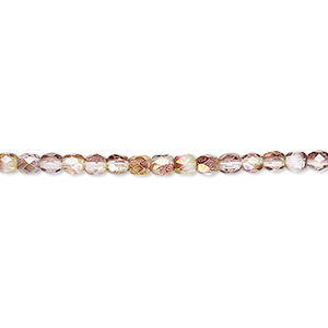 bead, czech fire-polished glass, pink and peach luster, 3mm faceted round. sold per 16-inch strand.
