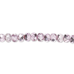 bead, czech fire-polished glass, pink silver, 5x4mm faceted rondelle. sold per 16-inch strand.
