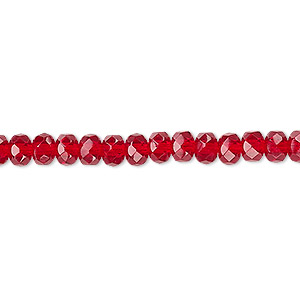 bead, czech fire-polished glass, ruby red, 5x4mm faceted rondelle. sold per 16-inch strand.