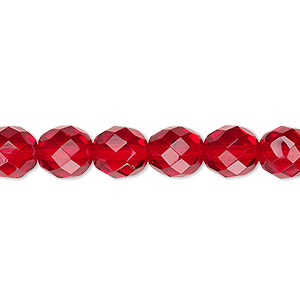 bead, czech fire-polished glass, ruby red, 8mm faceted round. sold per pkg of 600 (1/2 mass).