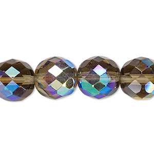 bead, czech fire-polished glass, smoke ab, 12mm faceted round. sold per 16-inch strand.