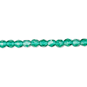 bead, czech fire-polished glass, teal, 4mm faceted round. sold per 16-inch strand, approximately 100 beads.