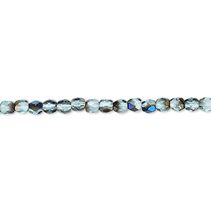 bead, czech fire-polished glass, teal blue iris, 3mm faceted round. sold per 16-inch strand.