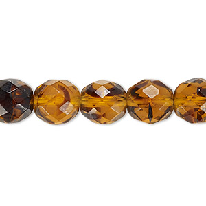 bead, czech fire-polished glass, tortoise, 10mm faceted round. sold per 16-inch strand, approximately 40 beads.