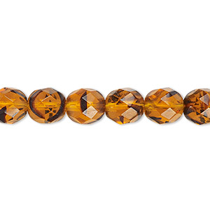 bead, czech fire-polished glass, tortoise, 8mm faceted round. sold per 16-inch strand, approximately 50 beads.