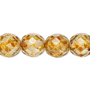 bead, czech fire-polished glass, tortoise gold, 12mm faceted round. sold per 16-inch strand, approximately 35 beads.