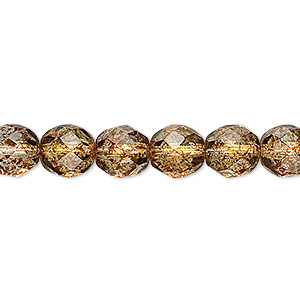 bead, czech fire-polished glass, tortoise gold, 8mm faceted round. sold per 16-inch strand, approximately 50 beads.