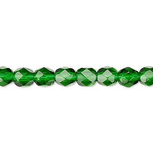 bead, czech fire-polished glass, translucent emerald green, 6mm faceted round. sold per pkg of 1,200 (1 mass).