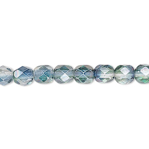 bead, czech fire-polished glass, translucent green and teal luster, 6mm faceted round. sold per pkg of 1,200 (1 mass).