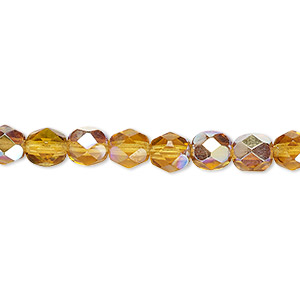 bead, czech fire-polished glass, translucent honey ab, 6mm faceted round. sold per pkg of 1,200 (1 mass).