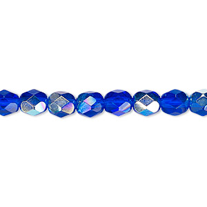 bead, czech fire-polished glass, translucent light cobalt ab, 6mm faceted round. sold per pkg of 1,200 (1 mass).
