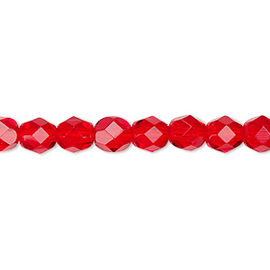 bead, czech fire-polished glass, translucent light red, 6mm faceted round. sold per pkg of 1,200 (1 mass).