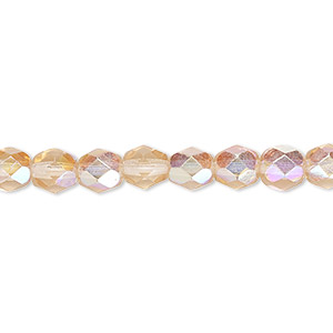 bead, czech fire-polished glass, translucent light rose ab, 6mm faceted round. sold per 16-inch strand.