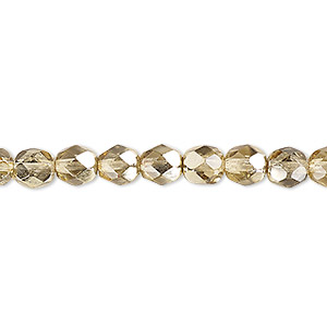 bead, czech fire-polished glass, translucent metallic pale gold, 6mm faceted round. sold per pkg of 1,200 (1 mass).