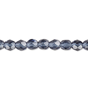 bead, czech fire-polished glass, translucent montana blue, 6mm faceted round. sold per 16-inch strand, approximately 65 beads.