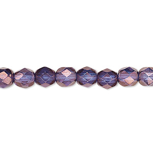 bead, czech fire-polished glass, translucent purple and gold, 6mm faceted round. sold per pkg of 1,200 (1 mass).