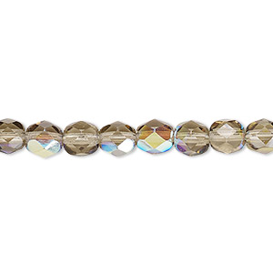 bead, czech fire-polished glass, translucent smoke ab, 6mm faceted round. sold per 16-inch strand.