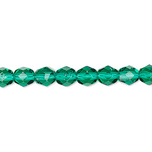 bead, czech fire-polished glass, translucent teal, 6mm faceted round. sold per 16-inch strand, approximately 65 beads.