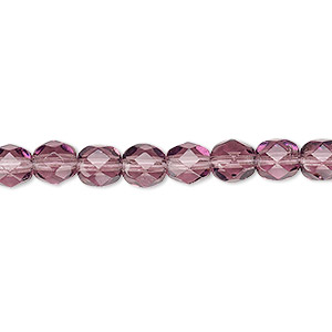 bead, czech fire-polished glass, transparent amethyst purple, 6mm faceted round. sold per 16-inch strand, approximately 65 beads.