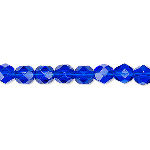 bead, czech fire-polished glass, transparent cobalt, 6mm faceted round. sold per 16-inch strand, approximately 65 beads.