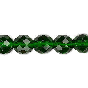 bead, czech fire-polished glass, transparent emerald green, 10mm faceted round. sold per 16-inch strand, approximately 40 beads.