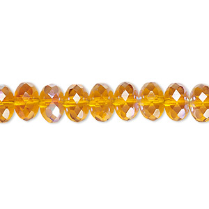 bead, czech fire-polished glass, transparent honey ab, 9x5mm faceted rondelle. sold per 16-inch strand.