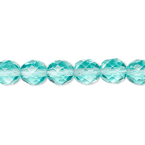 bead, czech fire-polished glass, transparent light aqua, 8mm faceted round. sold per 16-inch strand, approximately 50 beads.