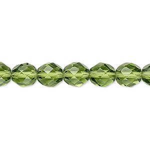 bead, czech fire-polished glass, transparent olivine, 8mm faceted round. sold per 16-inch strand, approximately 50 beads.