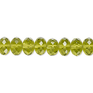bead, czech fire-polished glass, transparent olivine, 9x5mm faceted rondelle. sold per 16-inch strand.