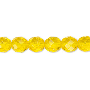 bead, czech fire-polished glass, transparent yellow, 8mm faceted round. sold per 16-inch strand, approximately 50 beads.