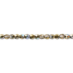 bead, czech fire-polished glass, two-tone clear ab and metallic amber gold, 3mm faceted round. sold per 16-inch strand.