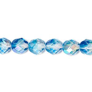 bead, czech fire-polished glass, two-tone, crystal / aqua ab, 8mm faceted round. sold per pkg of 1/2 mass.