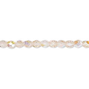 bead, czech fire-polished glass, two-tone, crystal / rose ab, 4mm faceted round. sold per pkg of 1 mass.