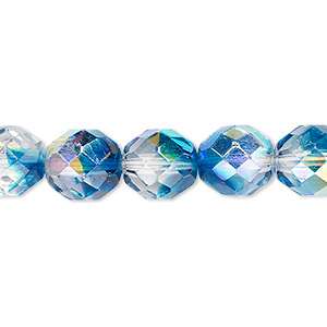 bead, czech fire-polished glass, two-tone, crystal/aqua ab, 10mm faceted round. sold per 16-inch strand.