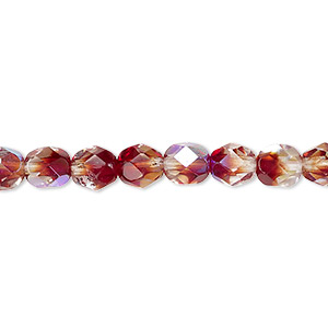 bead, czech fire-polished glass, two-tone, crystal/brown-red ab, 6mm faceted round. sold per 16-inch strand.
