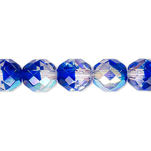 bead, czech fire-polished glass, two-tone, crystal/dark blue ab, 10mm faceted round. sold per 16-inch strand.